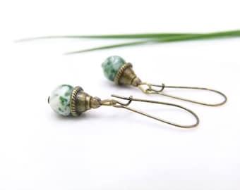 Semi precious earrings ~'~ green Jasper ~' ~