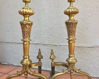 Vintage Cast Brass Neoclassic Style Andirons