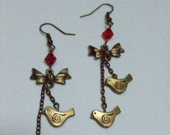 PRICE reduced: bronze bird and bow earrings