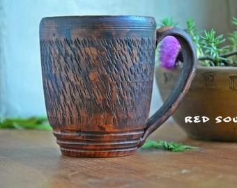 Pottery tea cup 300 ml (10 oz), ceramic mug, natural clay teacup