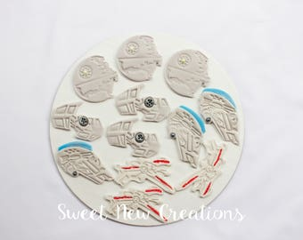 12 space ship cupcake toppers edible cupcake toppers fondant cupcake toppers