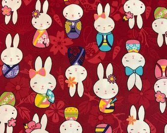 Japanese Anime - Bunnies Red - Cotton Woven