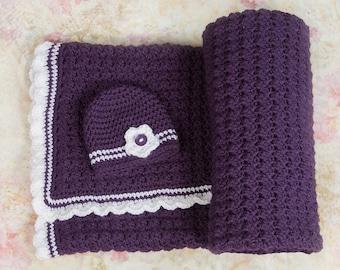 Crochet baby blanket, Purple baby blanket, Baby girl blanket, Baby Blankets, Newborn Blanket, Baby shower gift, Nursery decor, Baby gifts