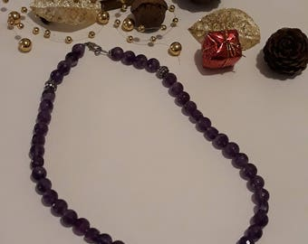 Faceted Amethyst necklace on silver