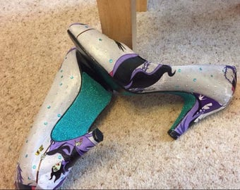 Custom made maleficent mid heel with glitter sole and gems