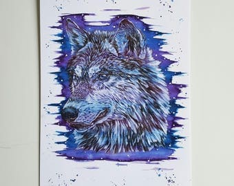 Wolf, wolf print, wolf art, wolf painting, woodland decor, wolves, wolf gifts, wolf wall art, wolf decor, woodland animals, woodland nursery