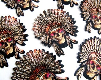 2Pcs.Iron On Skull,Indian Skull Patch,Indian Skull Applique,Glasses Skull Patch,Pink Glass Skull Applique,Skull Patch,Printed Skull