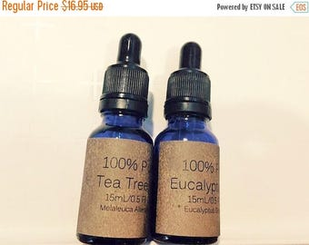 End of Summer CLEARANCE Bonus Pack of Tea Tree and Eucalyptus 100% Pure Essential Oils, 15 mL/0.5 oz with Dropper