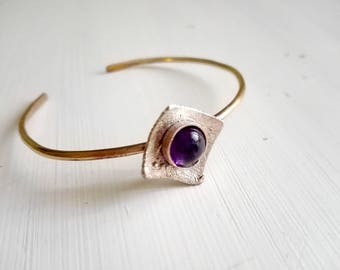 Ring bracelet open Brass silver and amethyst, anniversary, gift for her, friends gifts, Mother's Day gift, girlfriend gift