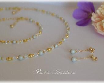 Parure collier bracelet et boucles d'oreilles, perles nacrées et cristaux de Swarovski gris et or  - bijoux mariage, clous d'oreilles