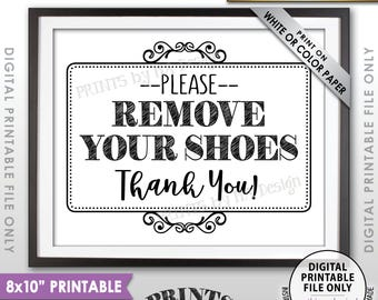 "Remove Shoes Sign, Please Remove Your Shoes, Entryway Sign, Entrance Sign, Mud Room Sign, Garage Sign, PRINTABLE 8x10"" Instant Download"