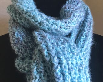 Light blue hand knit scarf, soft and handmade
