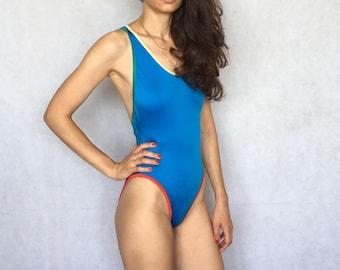 80s 90s Vintage Light Blu Blue Swimsuit One Piece SwimwearBathing Suit Woman's