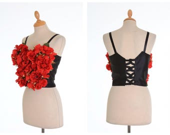 Vintage 1980s red roses flowers top bustier corset - size S