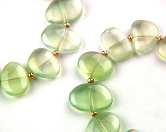 Reserved for Reecoo - 9x Celadon Green Natural Prehnite Navel Drilled Smooth Beads Australian Gemstones Translucent Stones Cross Drilled