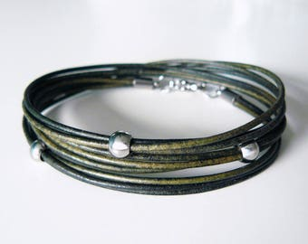 Leather bracelet, green, Boho, bracelet, diaper bracelet, genuine leather bracelet, leather wrap bracelet, triple wrapped bracelet, inspirational bracelet
