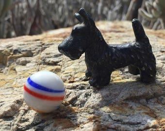 Vintage 1940's brass dog black small heavy metal scottie dog terrier schnauzer