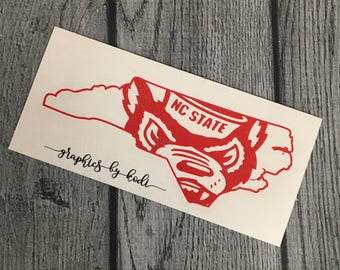 NC State Wolfpack Decal Sticker - North Carolina - North Carolina State University Sticker - North Carolina Wolfpack - NC Decal