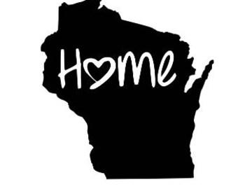 Wisconsin state decal, Wisconsin decal, Wisconsin home, Wisconsin sticker, Wisconsin car sticker, Wisconsin car decal