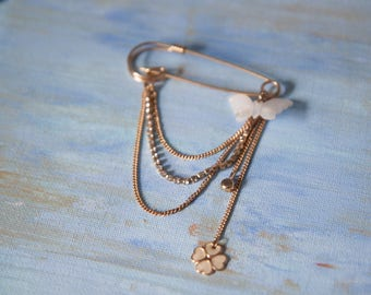 Safety Pin Brooch with Charms