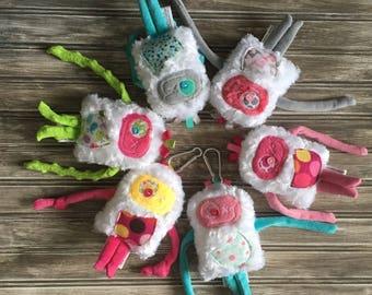 Mini Hug Monster, Diaper Bag or Backpack Bag identifier , Funny Stuffed Toy for Kids, Valentine's Day Gift