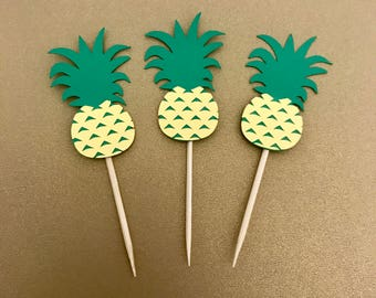 Pineapple Cupcake Toppers - Pineapple - Birthday - Cupcake toppers - Luau Decorations - Summer Decorations - Tropical