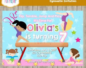 Gymnastic Invitation, Gymnastic Party, Gymnastic Birthday, Gymnastic Invite, Gymnastic Party Girl, Invitation, Party, Tumble, Jump Invite