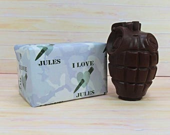Valentines Chocolate, solid milk chocolate grenade