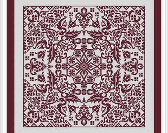 Cross-stitch design patterned square ornament - monochrome digital PDF  pattern