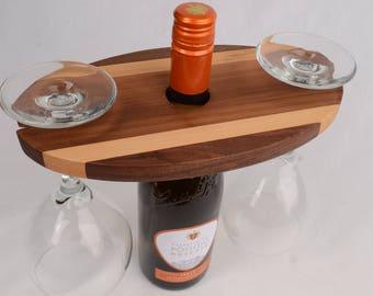 Dark wood Wine Bottle Glass Holder