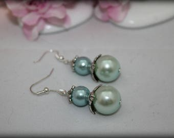 Blue wedding ball earrings