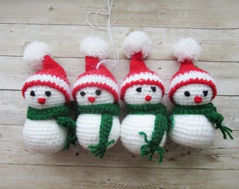 Snowman Toy 4 pieces set, Christmas home decor, Christmas Gift, Christmas tree decoration, Christmas Table decoration, Christmas Gift