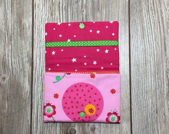 Pouch origami, elastic, rings, for girl. flowers and bees