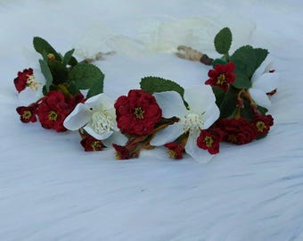 Red and White Halo ~ Baby Headbands ~ Photo Prop ~ Newborn ~ Infant ~ Toddler ~ Girls ~ Ladies ~ One Size ~ Tieback ~ Lace ~ Fall ~Christmas