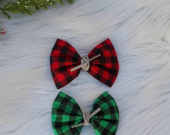 Holiday Plaid Fabric Bow~ One Size Nylon ~ Alligator Clip ~ Baby ~ Toddler ~ Girl ~ Vintage ~ Photo Prop ~ Red ~ Green ~ Suede Tie ~
