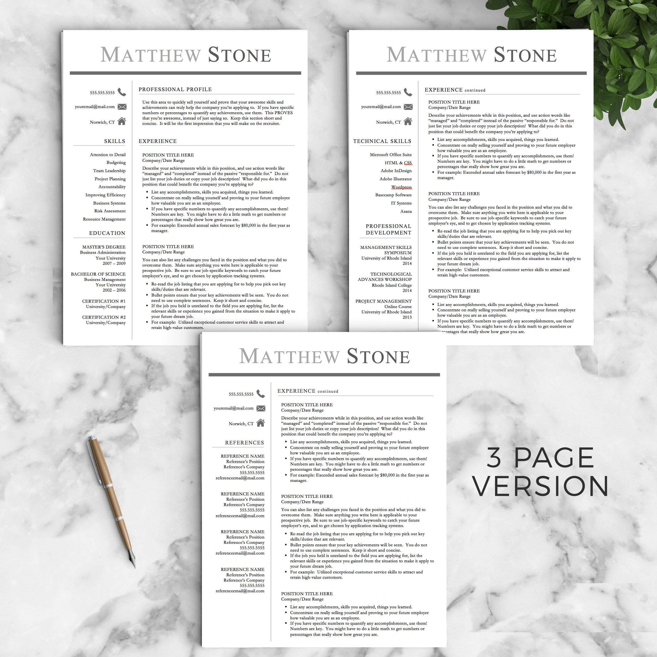 Professional Resume Template for Word & Pages | One, Two and Three Page  Resume Template