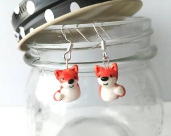Red fox earrings, handmade ceramic earrings, sterling silver fox jewellery