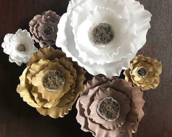 Giant Paper Flowers-Crepe paper flowers with Tissue Paper Center-Boho paper Flowers-nursery decor-boho wedding decor-shabby chic flower deco