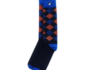 "Wedding Socks | Groom Groomsmen Socks | Argyle socks - Black, Royal & Orange - Fun Colorful - ""Scotsman"" Christmas Gift Stocking Stuffer"