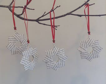 Recycled book Christmas wreath star ornaments 4 pack