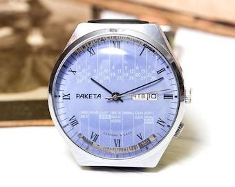 Vintage Blue Raketa Rocket Calendar Russian Soviet Men's Watch with strap