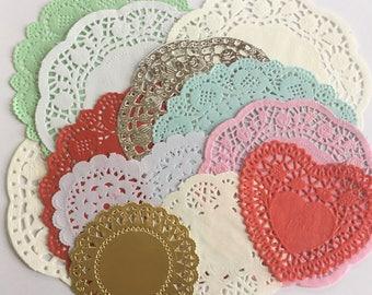 Mixed doilies, craft supplies, junk journaling, paper craft, set of 12