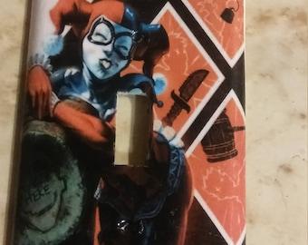 handmade Harley Quinn lightswitch cover