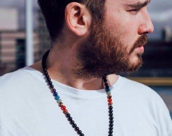 7 Chakra Matted Onyx Natural Gemstone Macrame Necklace Healing Stone Crystal Long Chakra Reiki With Pouch FREE UK SHIPPING