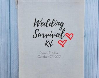 10 Wedding Favors, Bachelorette Party Favor, Hangover Kit, Survival Kit, Birthday Favor Custom - Wedding Survival Kit