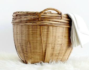 Hand Woven Bamboo Basket, Chinese Basket, Round Basket