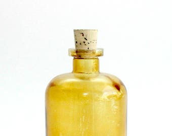 Amber Glass Apothecary Bottle, Small Glass Jar with Cork