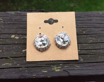Cinderella bling swarovski crystal earrings 12mm cushion cut studs crystals