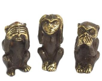 Set Of 3 Brass Wise Monkeys Ornaments See No Evil Hear No Evil Speak No Evil