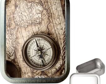 Map & compass 2oz silver tobacco tin,pill box,storage tin,keepsake